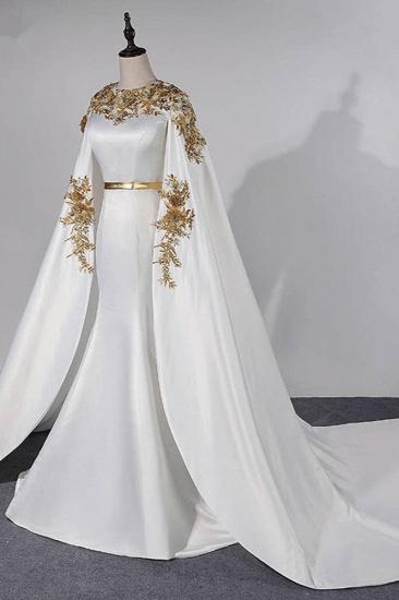 Elegant Satin Jewel Appliques Long Prom Dresses with Sash Online_4