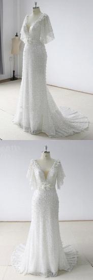 BMbridal Elegant Stunning Sequins White Tulle Wedding Dress Sweep Train Mermaid Short Sleeve Bridal Gowns On Sale_5