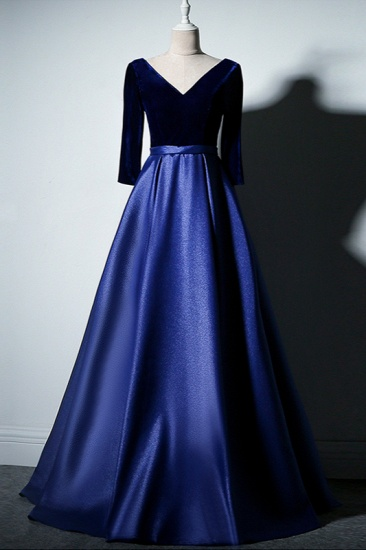 Elegant V-Neck Satin A-Line Prom Dresses Long Sleeves Party Dresses On Sale_6