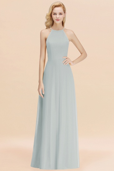 Modest High-Neck Yellow Chiffon Affordable Bridesmaid Dresses Online_38