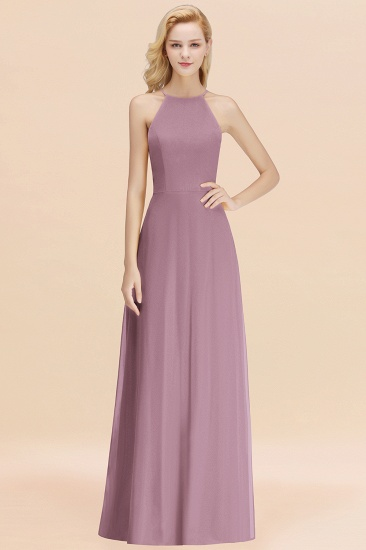 Modest High-Neck Yellow Chiffon Affordable Bridesmaid Dresses Online_43
