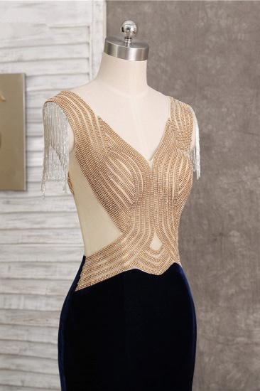 BMbridal Chic V-Neck Mermaid Black Prom Dresses Sleeveless Beadings with Tassels Online_6
