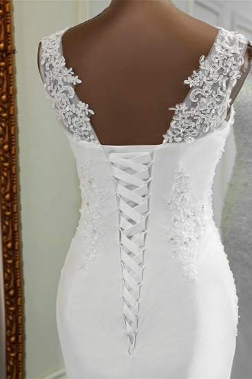 BMbridal Stunning Jewel Sleeveless White Wedding Dresses White Mermaid Beadings Bridal Gowns_8