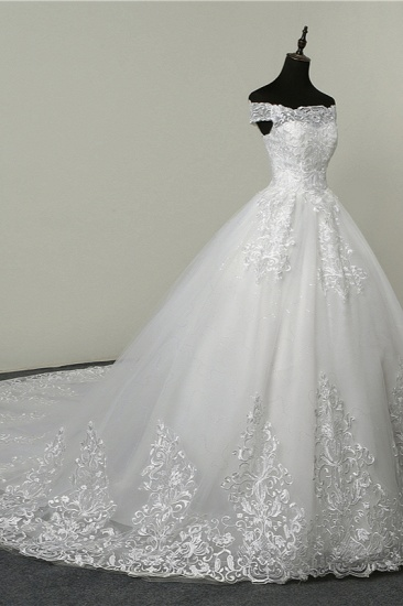 BMbridal Ball Gown White Tulle Sleeveless Wedding Dresses Off-the-Shoulder Lace Appliques Bridal Gowns_4