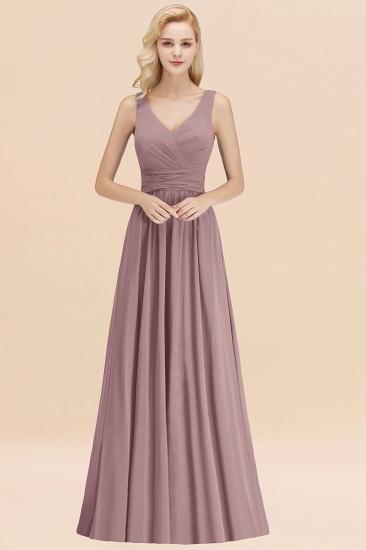 Modest Sleeveless V-Neck Long Chiffon Bridesmaid Dress Online with Ruffle_37