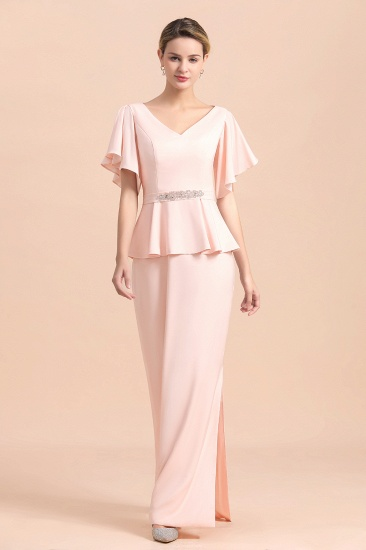 BMbridal Glamorous V-Neck Front Slit Mother of Bride Dresses with Beadings Sash_9