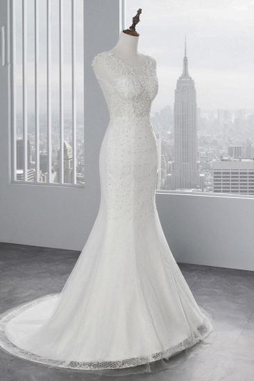 BMbridal Glamorous Jewel Sleeveless Rhinestone White Mermaid Wedding Dresses with Appliques_4