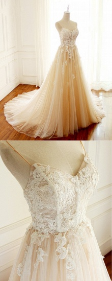 BMbridal Gorgeous Sweetheart Creamy Tulle Wedding Dress Spaghetti Straps Sweep Train Bridal Gowns On Sale_5