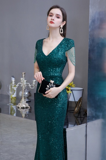 BMbridal Elegant Cap Sleeve Green Prom Dress Sequins Long Evening Gowns Online_7
