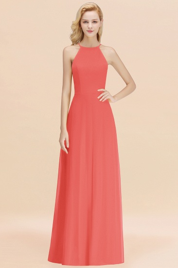 Modest High-Neck Yellow Chiffon Affordable Bridesmaid Dresses Online_7