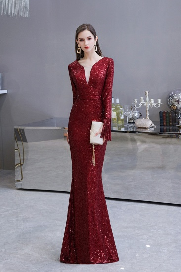 BMbridal Gorgeous Sequins Long Sleeve Prom Dress V-Neck Mermaid Evening Gowns