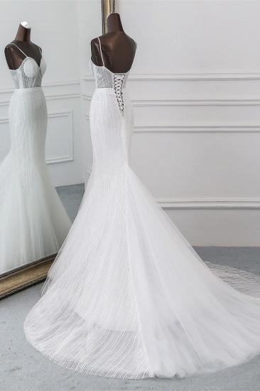 BMbridal Sexy Tulle Spaghetti Straps Mermaid White Wedding Dresses with Rhinestones Online_5
