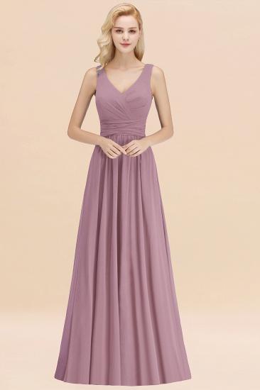 Modest Sleeveless V-Neck Long Chiffon Bridesmaid Dress Online with Ruffle_43