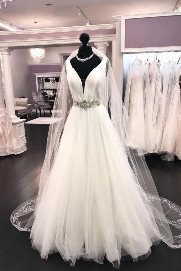 BMbridal Elegant White Satin Tulle V-Neck Wedding Dress Long Halter Bridal Gowns On Sale_1