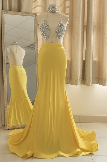 Sexy Yellow Halter Backless Prom Dress Long Mermaid With Crystals_5