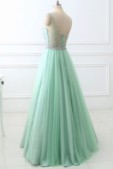 BMbridal Chic Tulle Jewel Sleeveles A-Line Prom Dresses with Rhinestones On Sale_5