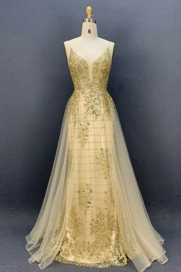 Sexy Spaghetti Straps V-Neck Prom Dresses with Gold Appliques Beadings_4