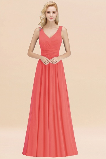 Modest Sleeveless V-Neck Long Chiffon Bridesmaid Dress Online with Ruffle_7
