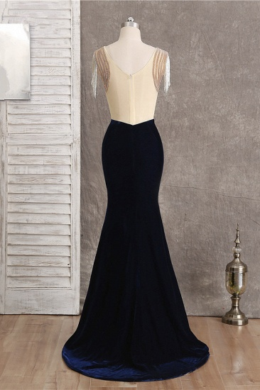 BMbridal Chic V-Neck Mermaid Black Prom Dresses Sleeveless Beadings with Tassels Online_3