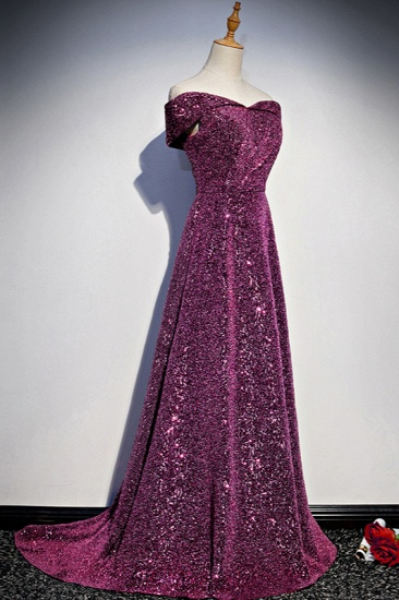 Sparkly Sequined Off-the-Shoulder Prom Dresses Sweetheart Sleeveless A-Line Evening Dresses On Sale_4