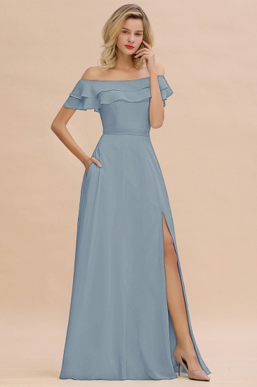 Exquisite Off-the-shoulder Slit Mint Green Bridesmaid Dress With Pockets_40