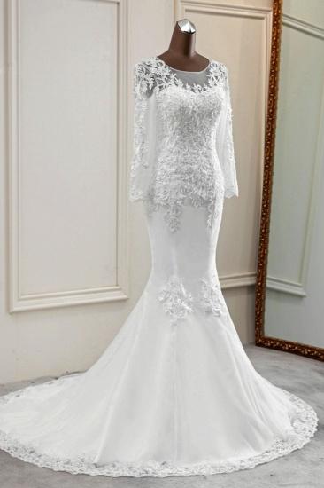 BMbridal Elegant Jewel Lace Mermaid White Wedding Dresses Long Sleeves Appliques Bridal Gowns_5