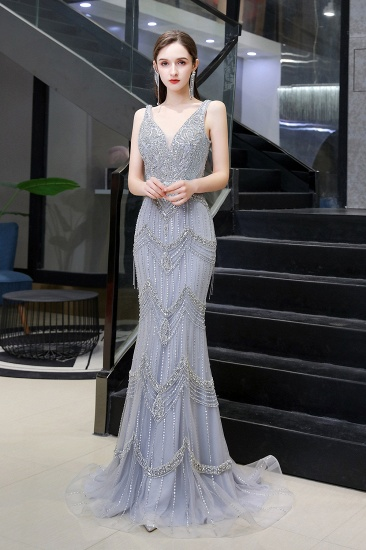 Luxurious V-Neck Mermaid Beadings Prom Dress Long With Scarf_4