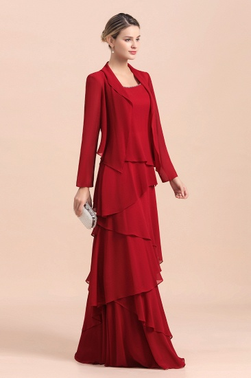 BMbridal Elegant Burgundy Chiffon Mother of the Bride Dress Ruffles With Jacket_6