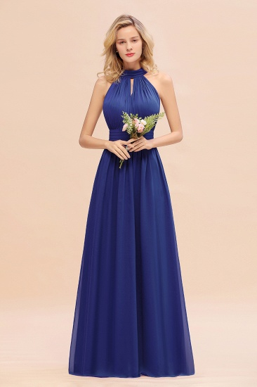 Glamorous High-Neck Halter Bridesmaid Affordable Dresses with Ruffle_26