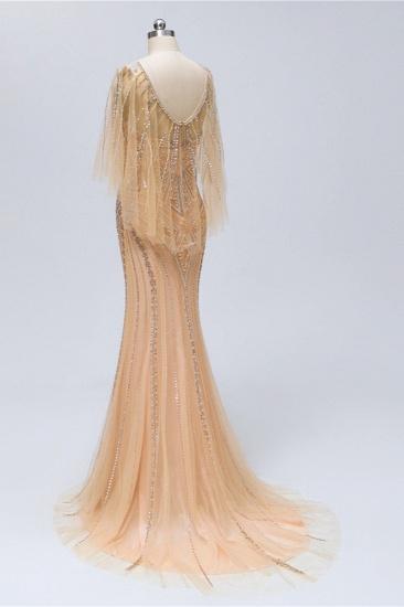 Elegant Tulle Beadings Gold Mermaid Prom Dresses Short Sleeves Rhinestones Evening Dresses Online_5