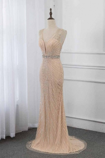 BMbridal Luxury V-Neck Beadings Mermaid Prom Dresses with Crystals On Sale_4