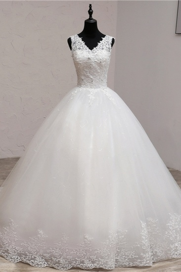Ball Gown V-Neck White Tulle Wedding Dresses Sleeveless Lace Appliques Bridal Gowns with Beadings