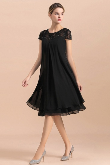 BMbridal Chic Black Cap Sleeve Mother of Bride Dress Chiffon Short Wedding Party Gowns_6