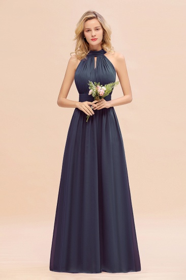 Glamorous High-Neck Halter Bridesmaid Affordable Dresses with Ruffle_39