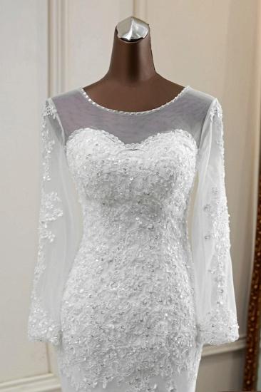 Elegant Jewel Long Sleeves White Mermaid Wedding Dresses with Rhinestone Applqiues_6
