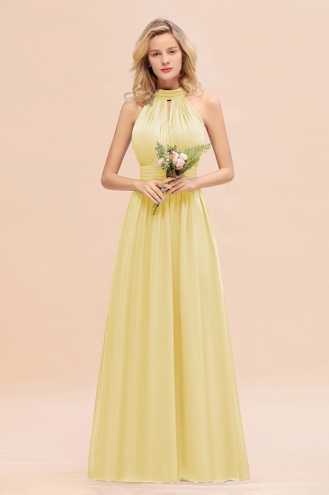 Glamorous High-Neck Halter Bridesmaid Affordable Dresses with Ruffle_18