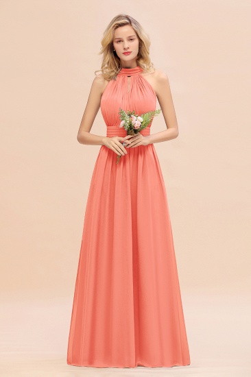 Glamorous High-Neck Halter Bridesmaid Affordable Dresses with Ruffle_45