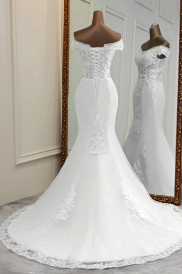 BMbridal Elegant Off-the-Shoulder Sleeveless White Mermaid Wedding Dresses with Beadings_3