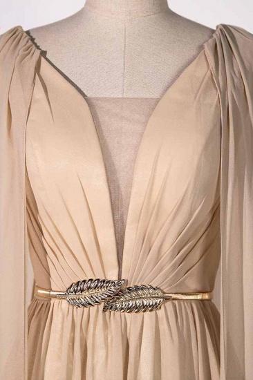 Chic Chiffon V-Neck Ruffle Prom Dresses with Beadings Sash On Sale_5