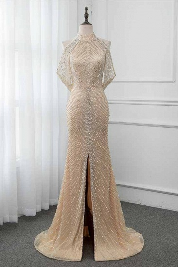 BMbridal Sparkly Crystals High-Neck Prom Dresses with Front Slit Online_1