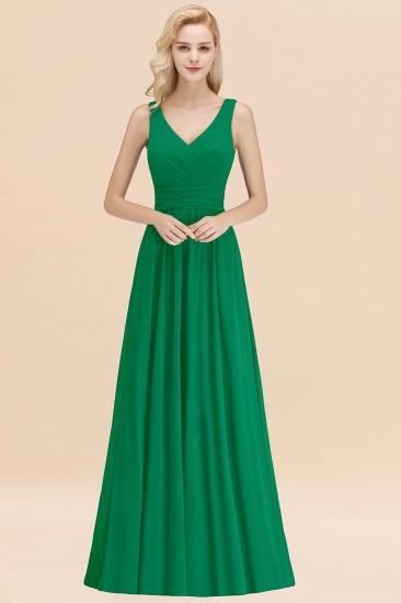 Modest Sleeveless V-Neck Long Chiffon Bridesmaid Dress Online with Ruffle_32