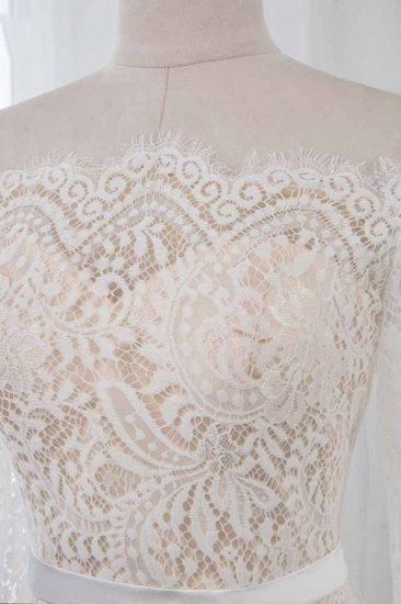 Boho Off-the-Shoulder Champagne Wedding Dresses Long Sleeves Mermaid Appliques Bridal Gowns_5