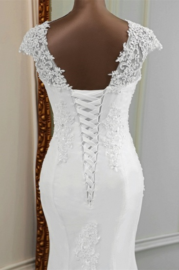 Luxury V-Neck Sleeveless White Lace Mermaid Wedding Dresses with Appliques_9