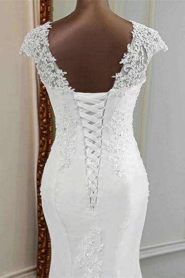 BMbridal Luxury V-Neck Sleeveless White Lace Mermaid Wedding Dresses with Appliques_9