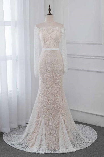Boho Off-the-Shoulder Champagne Wedding Dresses Long Sleeves Mermaid Appliques Bridal Gowns_1