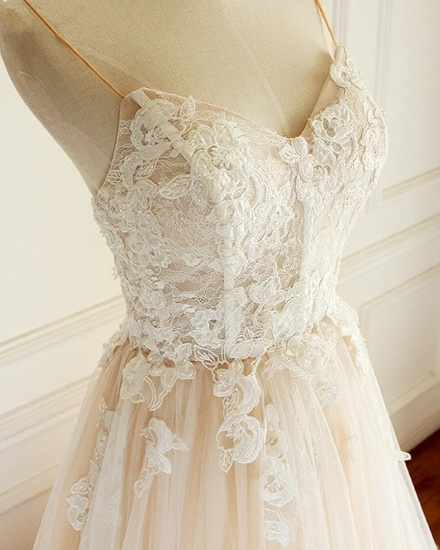 BMbridal Gorgeous Sweetheart Creamy Tulle Wedding Dress Spaghetti Straps Sweep Train Bridal Gowns On Sale_4