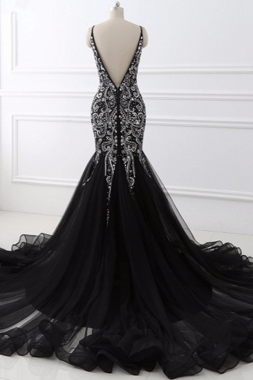 BMbridal Gorgeous Spaghetti Straps Black Mermaid Prom Dresses with Rhinestones Online_3