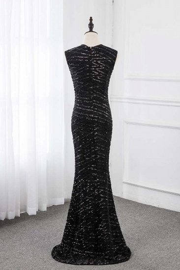 Gorgeous Jewel Sleeveles Black Mermaid Prom Dresses with Beadings_3