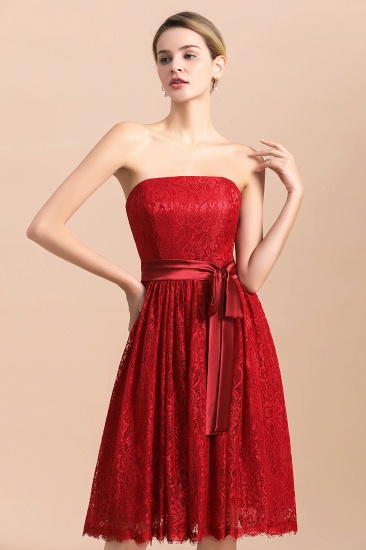 BMbridal Pretty Strapless Red Lace Bridesmaid Dresses Sleeveless Short Wedding Party Dress with Sash_5