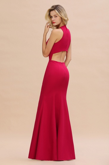 Sexy Red Halter Mermaid Prom Dress Long Evening Gowns Online_7